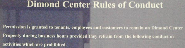 Dimond Center Rules of Conduct